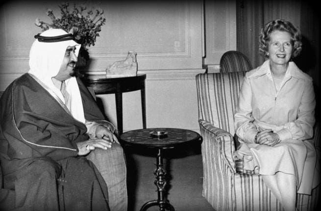 Margaret Thatcher sits down with King Fahd bin Abdul Aziz of Saudi Arabia at 10 Downing Street, London