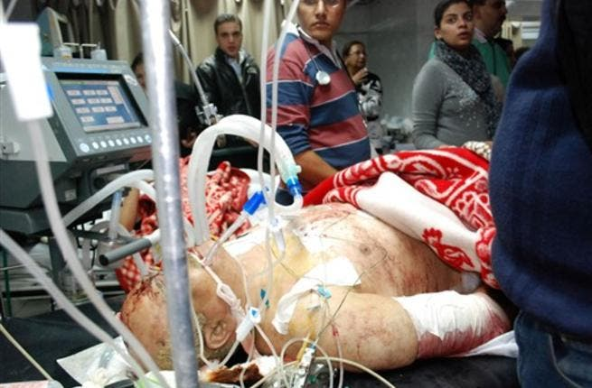 An injured man receives medical treatment at the hospital.