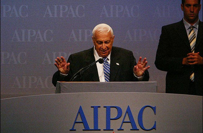 "The Jewish lobby: Sharon was a master in controlling AIPAC and other lobbying groups to direct the course of U.S. foreign policy. Today, Israel is the largest recipient of U.S. foreign aid - in economic terms, every Israeli gets a subsidy of USD $500. In 2001, Sharon famously said, ""We Israelis control America and the Americans know it."""