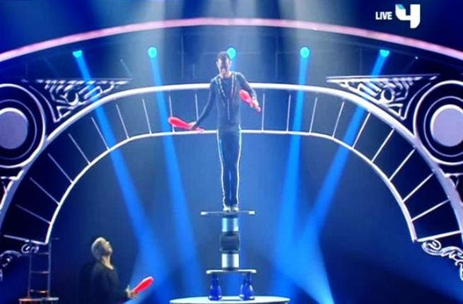 Heart-stopping: next up was balance artist Hussein Rasmi plunging us straight into the world of circus (appropriate while the Cirque du Soleil was touring the ME). Judge Ali pronounced this act fit for