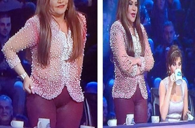 Ahlam gets judged at trouser-gate: The UAE judge got the Arab judging treatment, with viewers all trouser talk! Her unseemly tighter than tight 'Cameltoe' trousers (pants) got more mentions than the singing stars. Her answer to the media the morning after: 'Are you here to watch & vote for the talented contestants or to comment on my clothes?'
