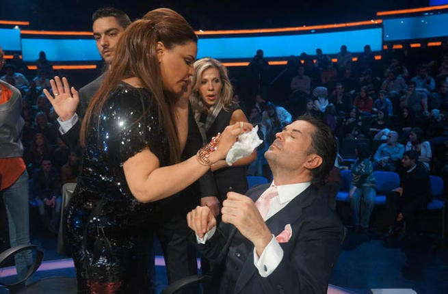 """Will these two give it a rest! """"Warring"""" judges Ahlam and Ragheb Alama are never more comfortable than when they're at each other's throats wielding a Louis Vuitton handbag. The problem is, the conflict is an invention of the ratings-hungry producers at MBC, no more real than Haifa Wehbe's nose."""