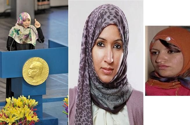 """""""Im Every Woman"""" (Left to right): Yemen's proud Nobel Peace Prize winner, Tawakkul Karman, Manal Al Shareef, who championed the Saudi women's driving cause in opposition to the long-time driving ban; and another heroine, Samira Ibrahim -  the woman behind Egypt's ban of virginity tests."""