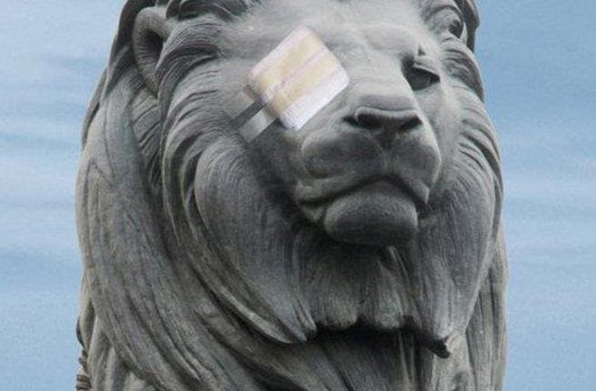 Speaking of 'Assad' (Arabic for 'lion'): An Egyptian lion has its eye bandaged to represent the striking wound pattern of the second  Egyptian revolution. The symbolism is endless. Trying to block a people's outcry and obscure their vision for  change. Obstructing the world media lens. An attempt to disable their efforts to be seen and heard.