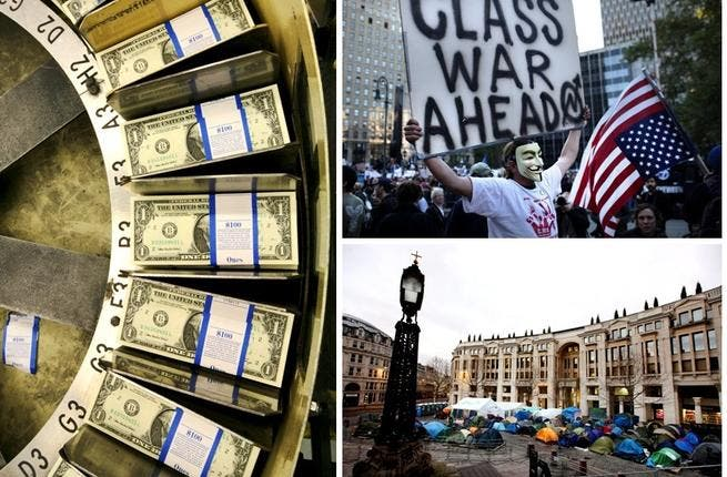 Debt disease occupies world street: A Western Spring came from a jeopardized world economy and people empowered (infected by Arab anger) enough to publicly protest. 'Occupy Wall Street' travelled from the debt-ridden US via London's Stock Exchange, and across many European capitals. The Arab Spring had shed paper-note leaves in a Western 'Fall'.