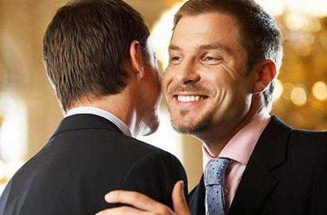 Kiss 'n' shake: Keep it same-sex! You won't often hear that in the conservative ME. Businessmen, you're better off greeting a fellow in continental kissing tradition than a lady. In the Gulf, it's safest waiting on a woman extending her hand first. Religious men are also averse to physically greeting the opposite sex. Sheikhs don't shake!