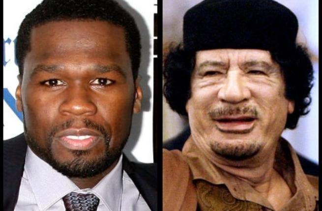 50 Cent- took more than his 50 cents, to sing and dance for Gaddafi Junior, Mutassim, in 2005 at VFF. He didn't give the money to chartity but instead dreamed up a violent video game: Blood on the Sand on PS3, Xbox 360 2009.