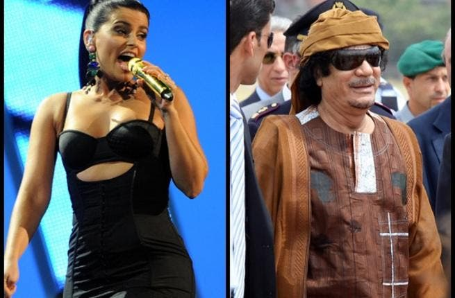Nelly Furtado: First pop star act to come out in shame on Twitter that in 2007 she'd been paid a million bux to perform for the Gaddafi crew, and has donated that sum to charity now.