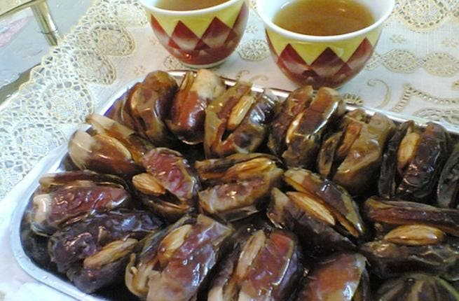 Stuffed dates make an eloquent partner to the Arabic bitter cardamon infused-coffee. Stuffed with almonds, candied orange or walnuts, these are an elegant version of the region's staple date that are fit for the occasion of Easter gifting or serving.