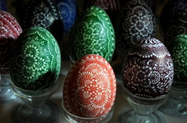 The tradition of decorating eggs at Easter, is one shared in the Middle East. The Arabs love their intricate designs as witnessed by their embroidery traditions.