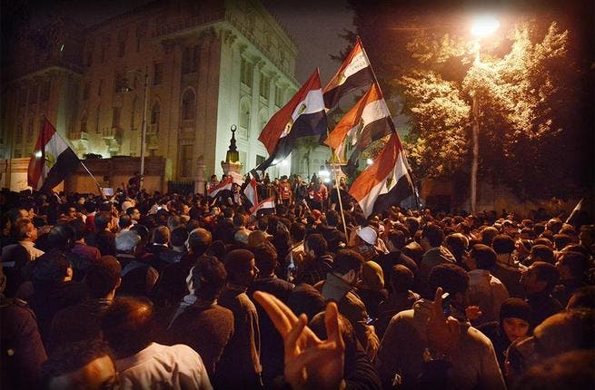 Just a little bit of history repeating: Protesters on 4 December stormed the presidential palace compound, forcing Morsi to flee in a scene reminiscent of the last days of the former Egyptian autocrat Hosni Mubarak in early 2011.