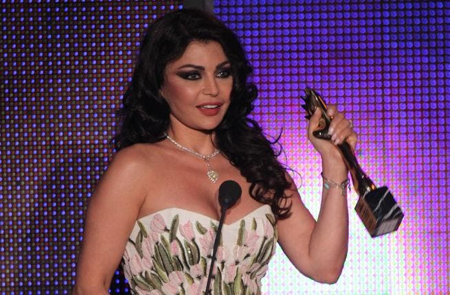 Haifa Wehbe received the Murex D'or Award for 'Most Popular Singer' at the Casino Du Liban in Beirut.