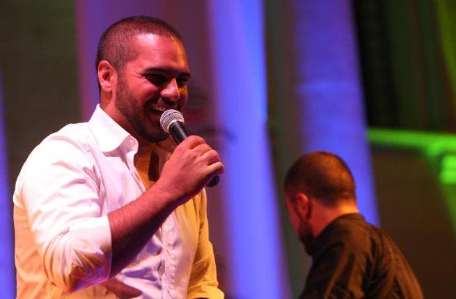 Lebanese singer Joseph Atiyah appears on stage to a sell-out audience at the Bcharre Festival in North Lebanon.