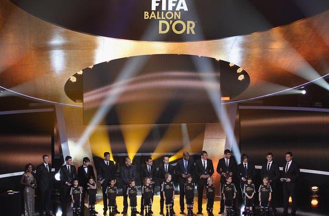FIFA World XI award including Cristiano Ronaldo,Maicon,Lucio,Gerard Pique,Iker Casillas, front row L to R: David Villa,Lionel Messi,Wesley Sneijder,Xavi,Andres Iniesta,Puyol.