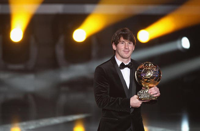 Lionel Messi of Argentina and Barcelona FC receives the men's player of the year award during the FIFA Ballon d'or Gala at the Zurich Kongresshaus in Zurich, Switzerland.