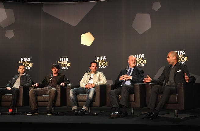L to R: Andres Iniesta of Spain, Lionel Messi of Argentina, Xavi of Spain, Vicente Del Bosque coach of Spain and Pep Guardiola coach of Barcelona.