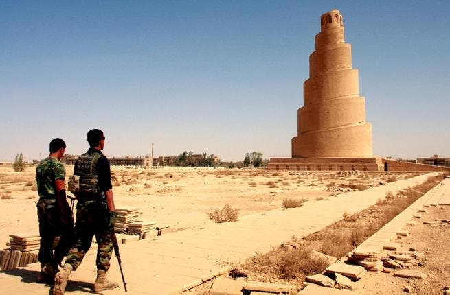 A minaret with a view: Religion, traditionally the last sanctuary and refuge, got no special treatment in Iraq's chaos. Mosque towers served nicely as sniper watch points for both sides in tit-for-tat. Minaret al-Malwiya, the huge spiraling bulwark, of the Great Mosque of Samarra (once the world's largest mosque) was bombed as a US look-out post.
