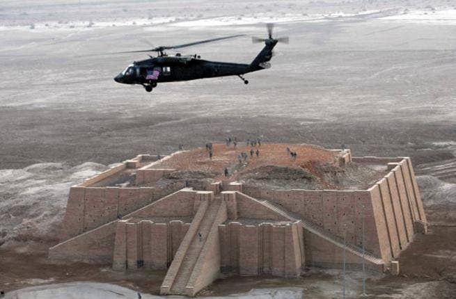 Trenches on Babylon? Helipads and bomb craters at Ur: Coalition missiles fired within range of cultural heritage sites and troops strayed into cultural sites for military purposes.  Co-lateral damage from machine gun fire apparently struck the side of the formidable step-pyramid and fortress