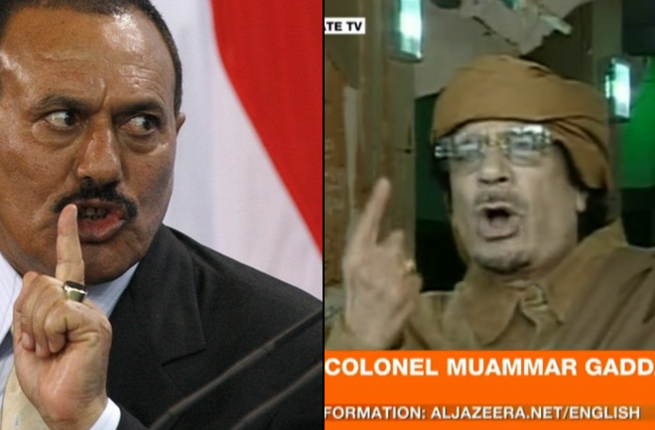 Leaders name-call their protesters: 'Mad-Dog' labels his disobedient people, cockroaches, greasy rats and cats, drug-taking, hallucinating, Nescafe-swigging brain-washed; And Saleh accuses his Yemeni protesters: gas-stealers, highway robbers.