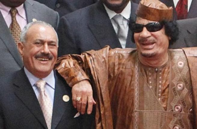 """Giving his buddy in unpopularity some friendly advice: """"Muammar Gaddafi advises the President of Yemen Ali Abdullah Saleh to step down to prevent bloodshed."""" Again, what??"""