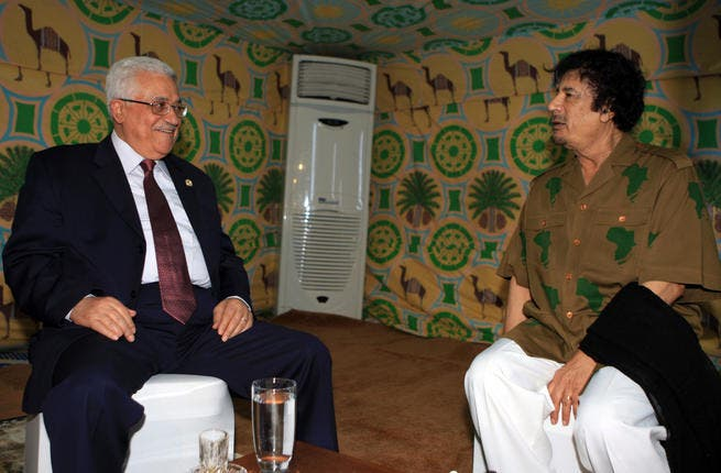 Mahmoud Abbas meets with Gaddafi (R) inside Gaddafi's personal tent in Sharm el-Sheikh, Egypt.  He has been associated with Pan Arabism, Pan Islamism and African Union.