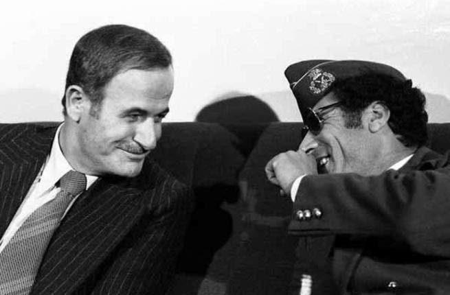 Friends with all the great dictators: President Hafez al-Asad with Libyan leader Mouammar al-Qaddafi in 1977.