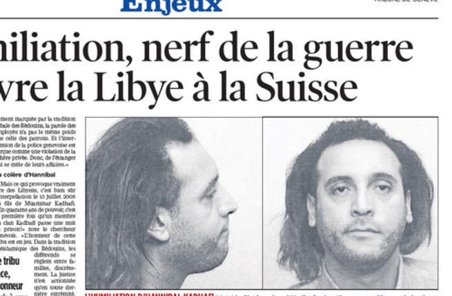 Hannibal - Age 34, his rock- star loud behavior with wife abroad has triggered a diplomatic row with Switzerland in past. In 2008, he was arrested in a Geneva hotel after two of his servants accused him of assault.