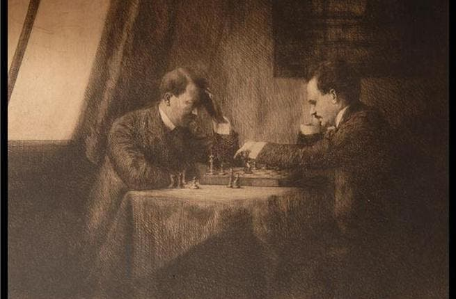 Incongruous: this endangered leader keeping his brain active, is not an isolated image of tyrants' leisurely activity: A painted depiction of a 100 year-old chess game between Adolf HItler and Vladimir Lenin, signed by the 2 dictators. Even though their real-life moves aren't always the smartest..