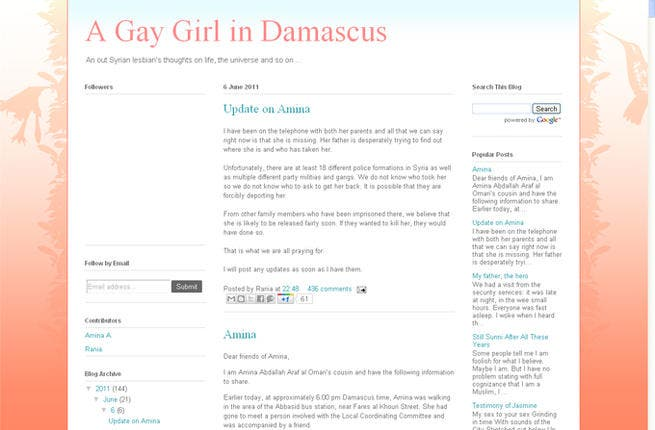 Racy but smart: the blog scam went under the alias A Gay Girl in Damascus. Pretty and pink and eloquent to boot,  it was an