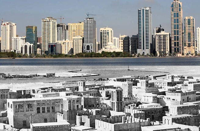 The sun never sets on Sharjah: Like dozens of other places across the globe, the UAE fell victim to British colonialism in the 20th Century. This picture of Sharjah, taken by Brits in 1973, has been superimposed on a recent snap of the Emirati city to show just how far the Sharjah's development has come in the last 40 years.