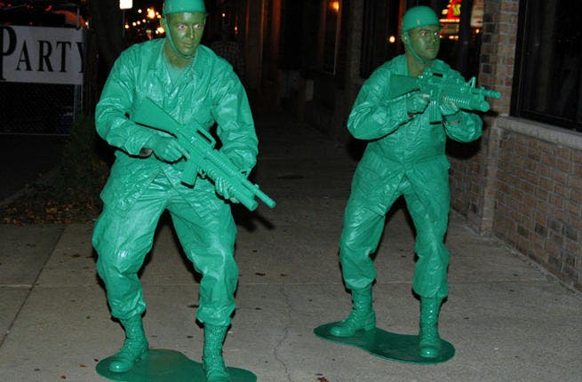 Creepy camouflage: Military clothing is a Halloween staple, but with the endless slew of coups in the Middle East, there's no novelty in army fatigues. It takes one trip across the Palestinian border and being prodded with Israeli AK47 to get your military fix or just to read about the Syrian crisis to make you put away that camo.