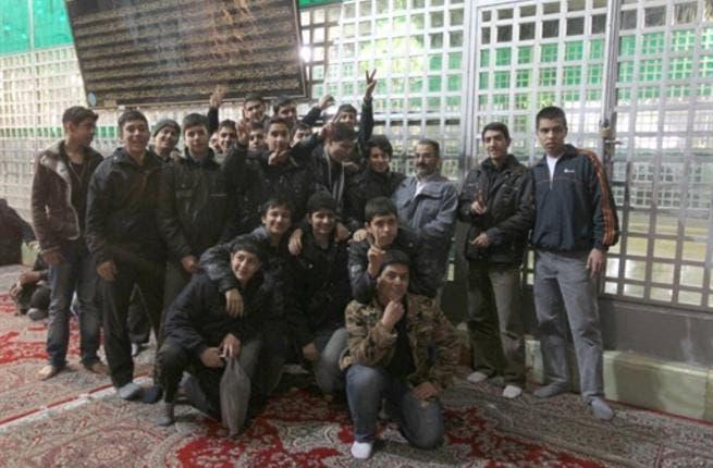 Iranian high school students visit the shrine of Ayatollah Ruhollah Khomeini.
