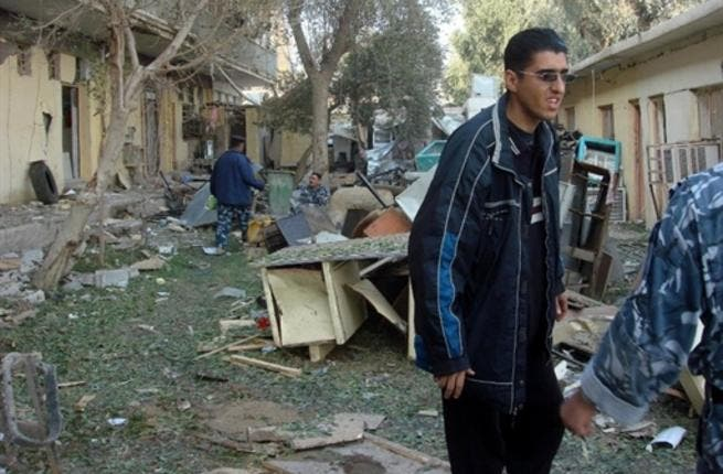 The damage that was made by a suicide bomber who rammed an ambulance packed with explosives.