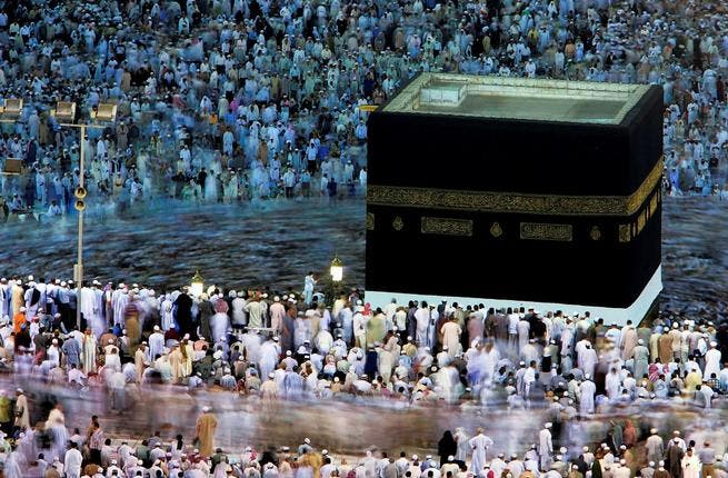 Tawaf is the ritual of walking around the Ka'aba seven times, again figuratively enacting the Qaranic story: It is said that when one has his/her first glance at Ka'aba, whatever prayers one makes is granted.