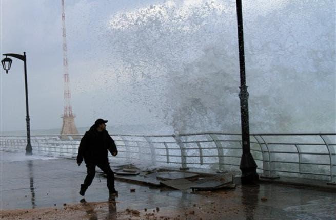 High waves hit Beirut promenades