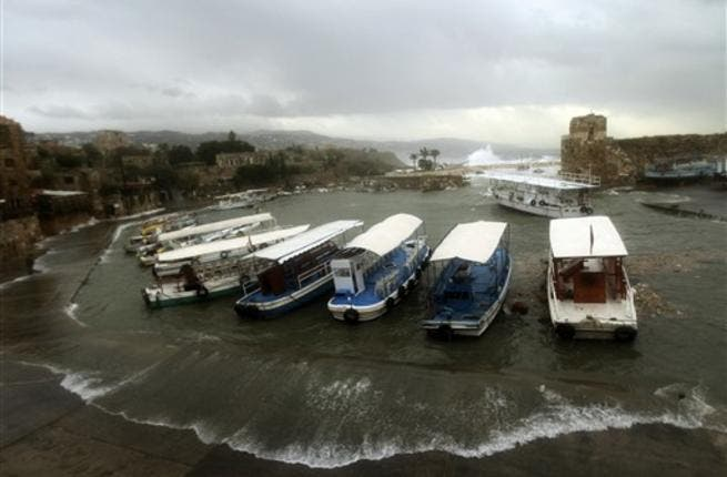 A general view shows the Lebanese ancient northern port of Byblos as heavy winds and rain whipped across Lebanon.