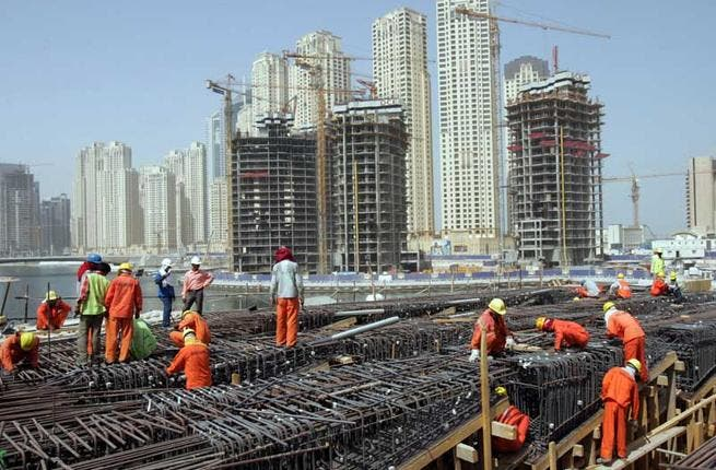 Construction workers in the Gulf states are often immigrant workers (like a large portion of the labor force there) busy building up the next colossal Arab projects under the sun.