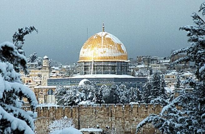 A holy sight for sore eyes: The snowstorm may have been an unwelcome visitor and was certainly a blight on lives, livelihoods and infrastructure but one couldn't help but pause to admire some of the region's iconic symbols resplendent in snow-white: Jerusalem and Al Aqsa mosque turned into a winter dream after heavy overnight snowfall stuck.