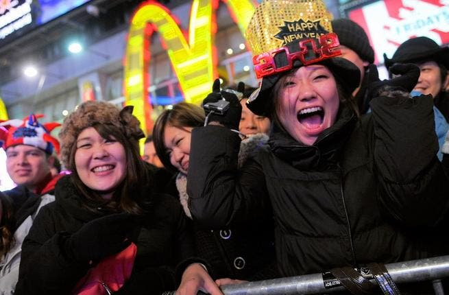 Thousands of revelers gather in New York's Times Square to celebrate the ball drop at the annual New Years Eve celebration in New York City.