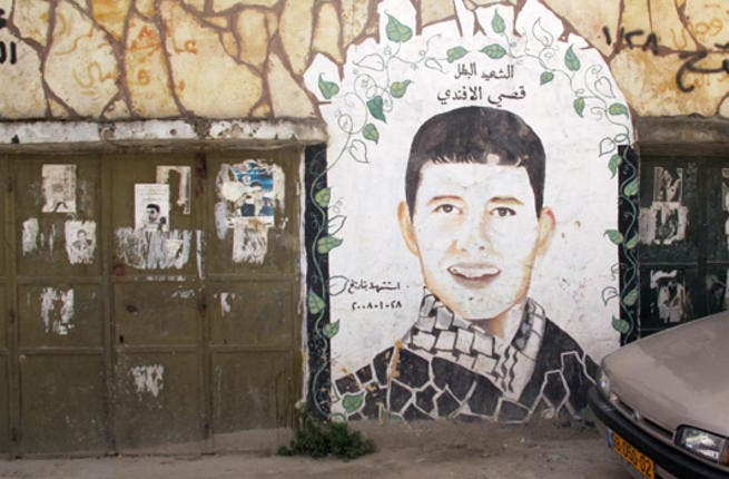 During the second Intifada (2000-2005), drawings of 'martyrs' — Palestinian killed by Israel — mushroomed on city walls. Many of these commemorative paintings can still be found throughout the West Bank and Gaza Strip, especially in refugee camps like this one, Deheishe Refugee Camp, in Bethlehem.
