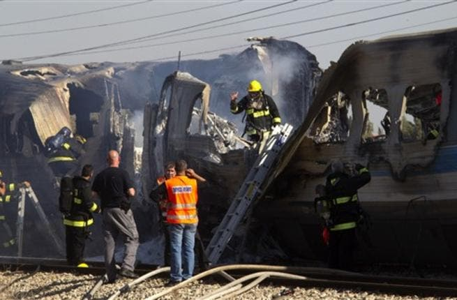 Almost 50 people Injured, in an apparent accident. And the Israeli fire men are extinguishing the burning train wreck.