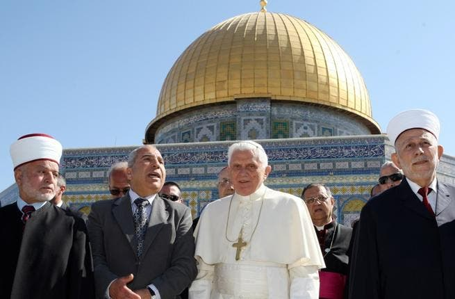 Pope Bennedict XVI in Jerusalem, May 2009: He might have called for co-operation between Palestinians and Israelis but clearly the message was lost on one Muslim leader who took the Papal mic to vent against Israel. But after all, this was only months after the Gaza assault.