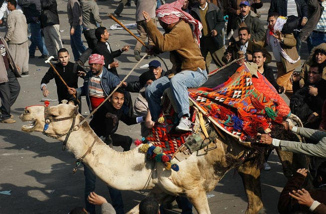 A supporter of embattled Egyptian president Hosni Mubarek rides a camel through the melee during a clash between pro-Mubarek and anti-government protesters in Tahrir Square.
