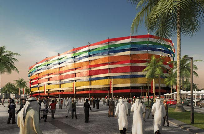 The Thani bin Jassim Stadium: Home to the football team Al-Gharrafa, the stadium is the most colorful venue of the World Cup. The stadium will have a façade of rainbow ribbons designed to represent the array of different teams that qualify for the tournament.  (Albert Speer & Partner GmbH; capacity: 44,740)