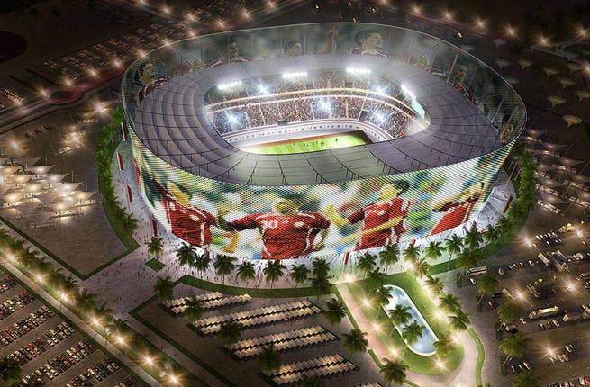Al-Rayyan Stadium: The outer façade of this futuristic arena is made up of a digital screen that will feature the latest scores, highlights and updates. This way, you can see goals being scored before you even enter the prescient stadium.  (Albert Speer & Partner GmbH; capacity: 44,740)