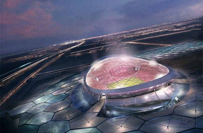 Lusail Iconic Stadium: The spectacular venue will be used for the opening and final games. Encircled by a reflective pool of water, spectators will cross six bridges to enter the stadium. The entire arena is solar powered and (save for the boots of the players) will have a zero footprint. (Architects: Foster + Partners; capacity: 86,250)