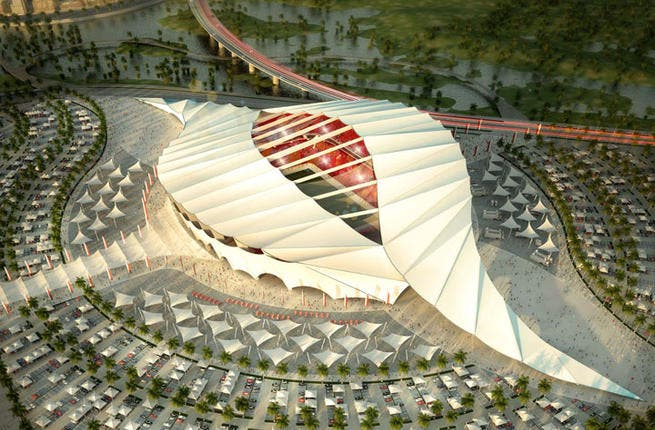 Al Khor stadium: Located in industrial water-front Al Khor (Creek), the stadium has a seashell motif and a flexible roof with gentle ridges. The structure of the stadium is in harmony with the city's coastal location. (Albert Speer & Partner GmbH; capacity: 45,330)