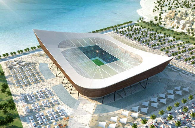 Al Shamal stadium: Located near the northerly 'Ash Shamal', the stadium's curved shape is inspired by the traditional dhow, the trading boats that have sailed between the Gulf and East Africa. (Albert Speer & Partner GmbH; capacity: 45,120)