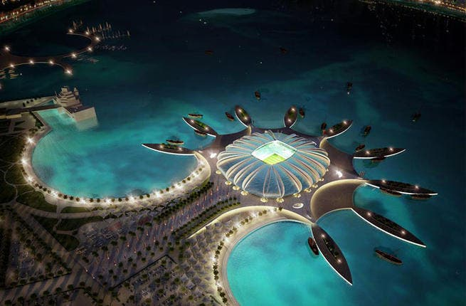 Doha Port Stadium: This fantastic structure is shaped to resemble a new marine life form that has just emerged from the Arabian waters. The water from the sea will continuously cool the outer façade of the stadium -- just as it would the body of a fish. Such harmonious work! (Albert Speer & Partner GmbH; capacity: 45,120)