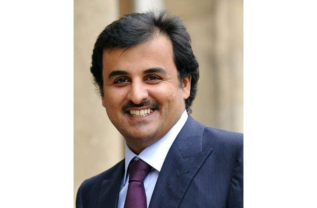 Sheikh Tamim Bin Hamad al-Thani arriving at the Elysee Palace for a lunch with French President Nicolas Sarkozy (AFP)